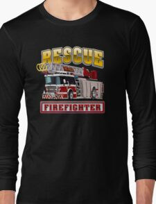 Cartoon Fire Truck Long Sleeve T-Shirt
