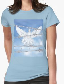Dove and Barbed Wire Womens Fitted T-Shirt