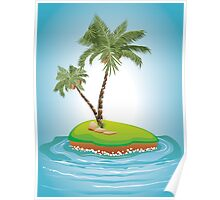 Palm Tree on Island Poster