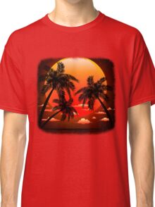 Warm Topical Sunset with Palm Trees Classic T-Shirt