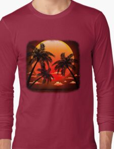 Warm Topical Sunset with Palm Trees Long Sleeve T-Shirt