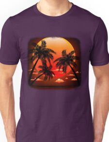 Warm Topical Sunset with Palm Trees Unisex T-Shirt