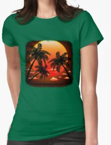 Warm Topical Sunset with Palm Trees Womens Fitted T-Shirt