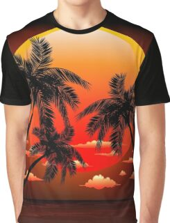Warm Topical Sunset with Palm Trees Graphic T-Shirt