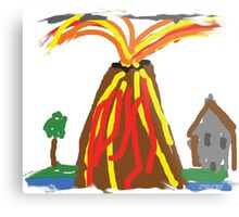 Volcano & House by Xander Metal Print