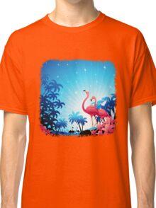 Pink Flamingos on Blue Tropical Landscape Classic T-Shirt