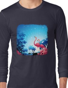 Pink Flamingos on Blue Tropical Landscape Long Sleeve T-Shirt