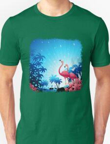 Pink Flamingos on Blue Tropical Landscape Unisex T-Shirt