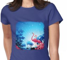 Pink Flamingos on Blue Tropical Landscape Womens Fitted T-Shirt