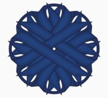 Blue Flower Ribbon One Piece - Short Sleeve