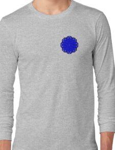 Blue Flower Ribbon Long Sleeve T-Shirt