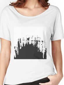 Modern Black and White Painted Brushstroke Women's Relaxed Fit T-Shirt