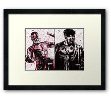 Daredevil and Punisher Ink Splatter Framed Print