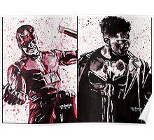 Daredevil and Punisher Ink Splatter Poster