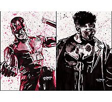 Daredevil and Punisher Ink Splatter Photographic Print