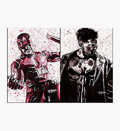 Daredevil and Punisher Ink Splatter Photographic Print
