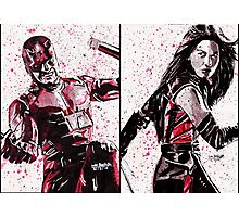 Daredevil and Elektra Ink Splatter Photographic Print