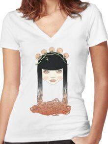 Spaghetti girl Women's Fitted V-Neck T-Shirt