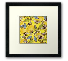 Yellow lemon and bee garden. Framed Print