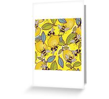 Yellow lemon and bee garden. Greeting Card