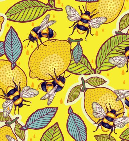Yellow lemon and bee garden. Sticker