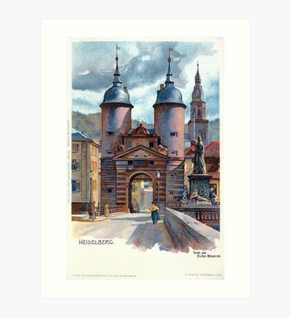 Vintage Litho Heidelberg Old Bridge Gate Art Print