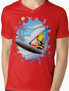 Windsurfer on Ocean Waves Mens V-Neck T-Shirt