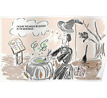 Witch & Cauldron Comic Halloween Humour Cartoon Poster