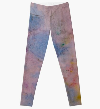 Colorful abstract Ink design blue red yellow Textile print Leggings