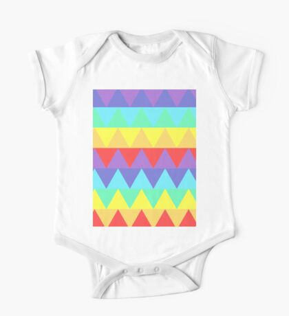 Pastel Rainbow Triangles One Piece - Short Sleeve