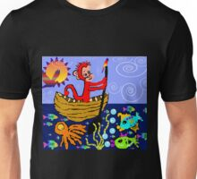 mONKEY rOWING oN a bLUSTERY dAY Unisex T-Shirt