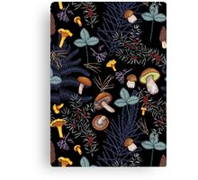 dark wild forest mushrooms Canvas Print