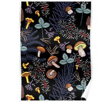 dark wild forest mushrooms Poster
