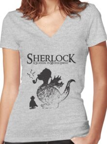 Sherlock: A Scandal in Middle-earth Women's Fitted V-Neck T-Shirt