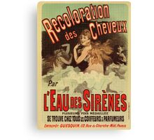 Vintage 1890s Mermaid French Hair Dye ad by Cheret Canvas Print