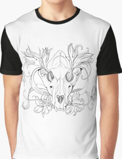 black and white animal skull with flowers in graphic style Graphic T-Shirt