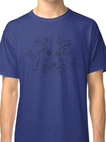 black and white animal skull with flowers in graphic style Classic T-Shirt