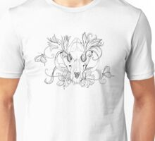 black and white animal skull with flowers in graphic style Unisex T-Shirt