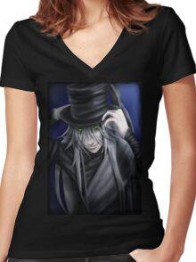 Undertaker Hat Tip Women's Fitted V-Neck T-Shirt