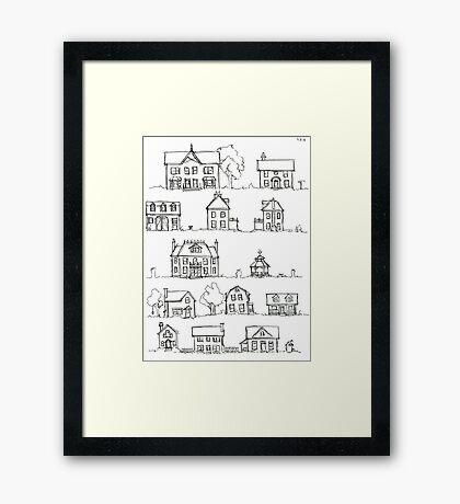 Sketching a Neighborhood Framed Print