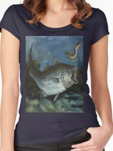 Striped Bass Chasing an Eel Women's Fitted Scoop T-Shirt