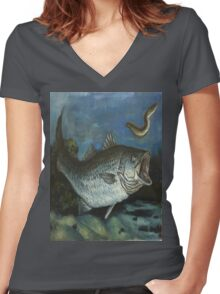 Striped Bass Chasing an Eel Women's Fitted V-Neck T-Shirt