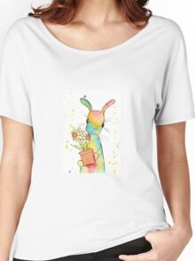Peppermint Art Hare with Daffodils Women's Relaxed Fit T-Shirt