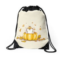 Penguin Pumpkin Drawstring Bag