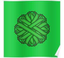 Green Flower Ribbon Poster