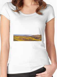 Fall taiga recovering from fire, Fox Lake burn, Yukon Territory, Canada Women's Fitted Scoop T-Shirt