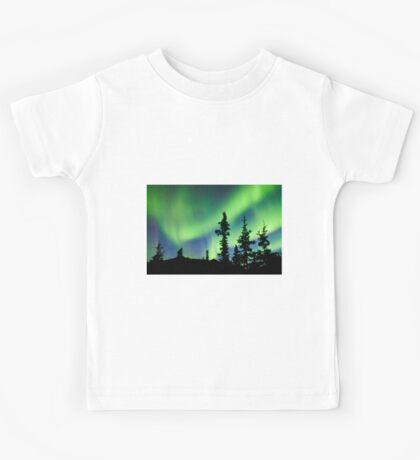 Northern Lights Aurora borealis over Yukon taiga spruce Kids Tee