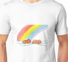 Two Lop Eared Bunnies sleeping under a rainbow Unisex T-Shirt