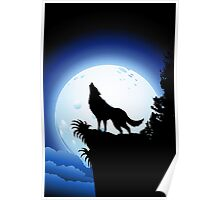Wolf Howling at Blue Moon Poster