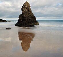 Sango Bay Beach Rock Reflection by Maria Gaellman